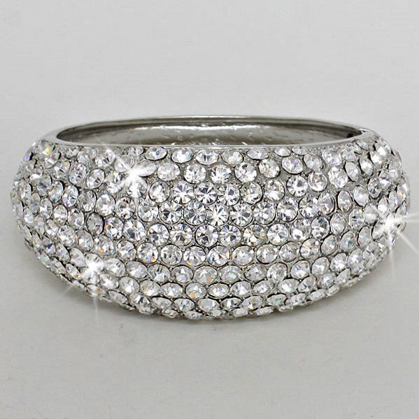 Silver Pave Crystal Bling Bangle Bracelet