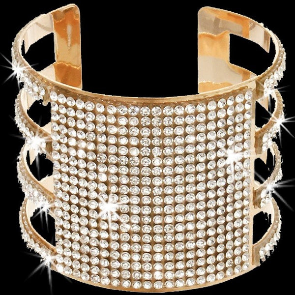 Gold Bling Pave Crystal Open Cuff Bangle