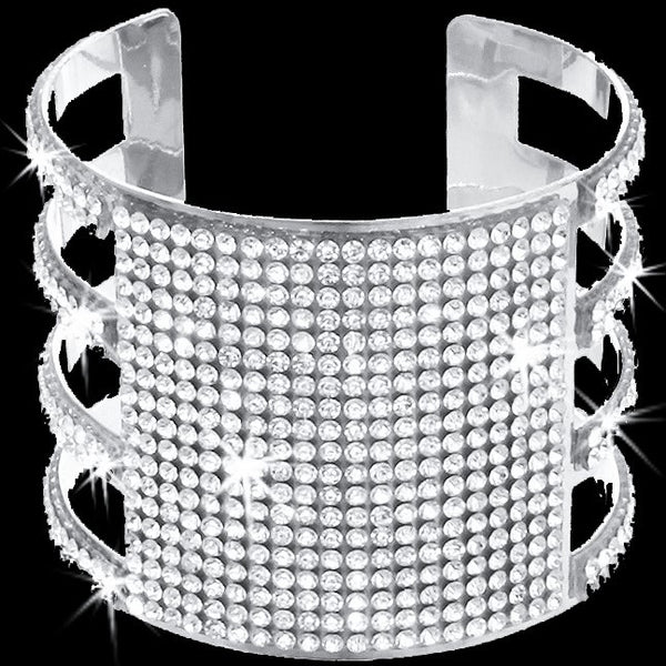 Silver Bling Pave Crystal Open Cuff Bangle
