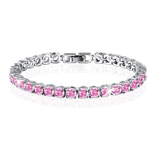 16ct Round Brilliant Cut Pink Cz Tennis Bracelet