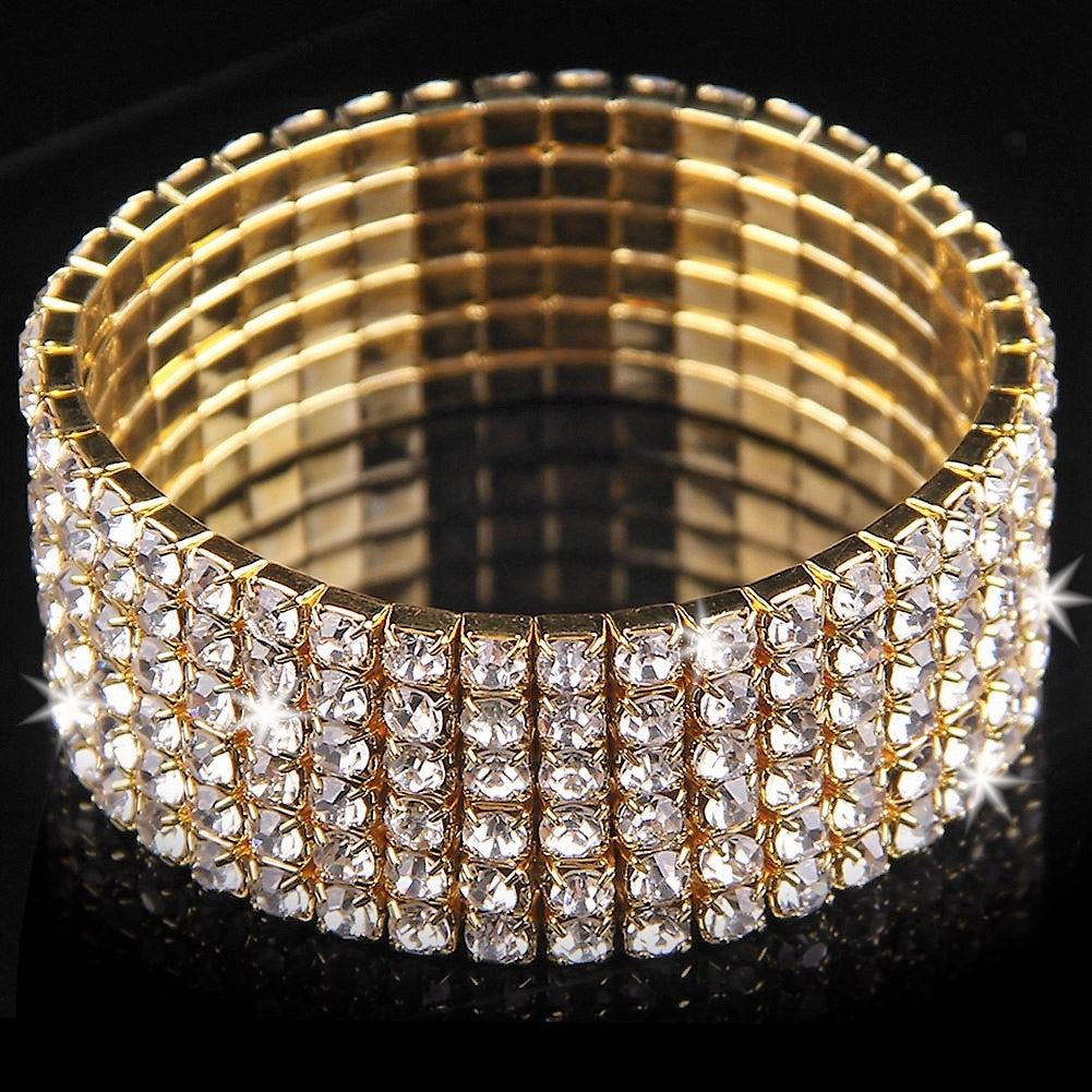 6 Row Crystal Super SEXY Tennis Stretch Bracelet Gold