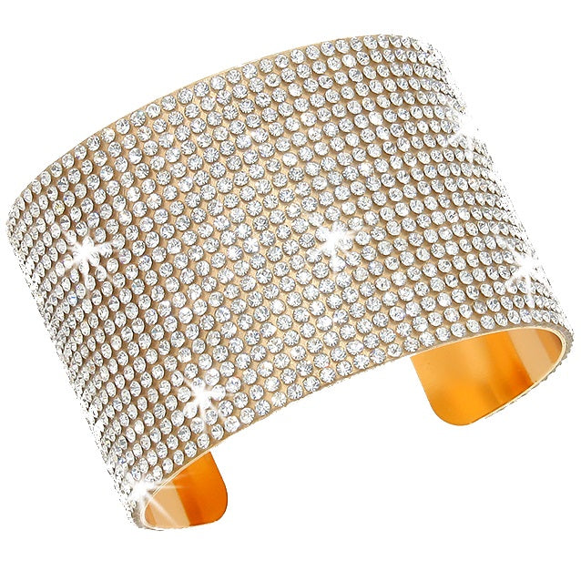 Gold Bling Pave Crystal Cuff Bangle