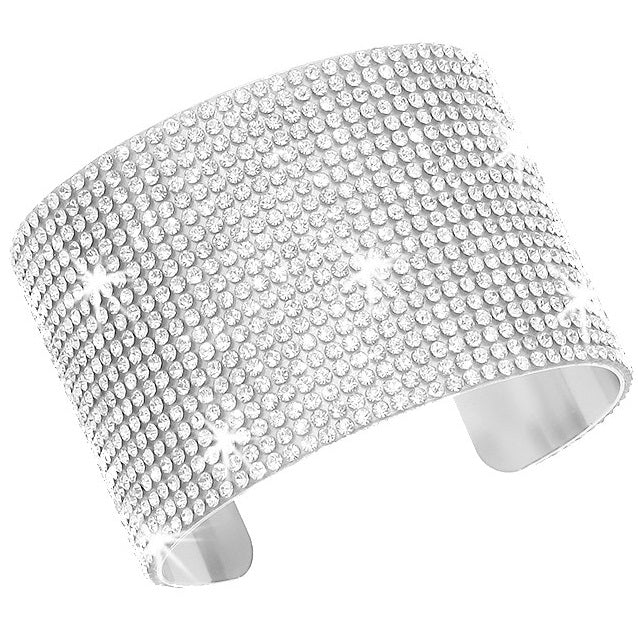 Silver Bling Pave Crystal Cuff Bangle
