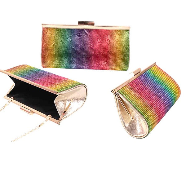 BLING Rainbow Multi Color Crystal Mini Clutch Purse