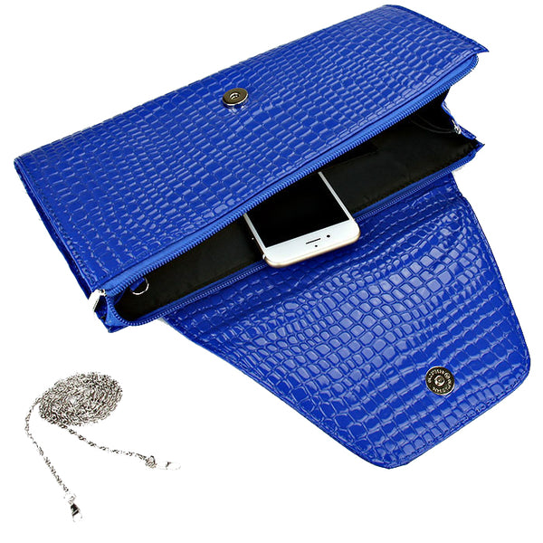 Royal Blue Snakeskin Kiss Crystal Full Size Clutch