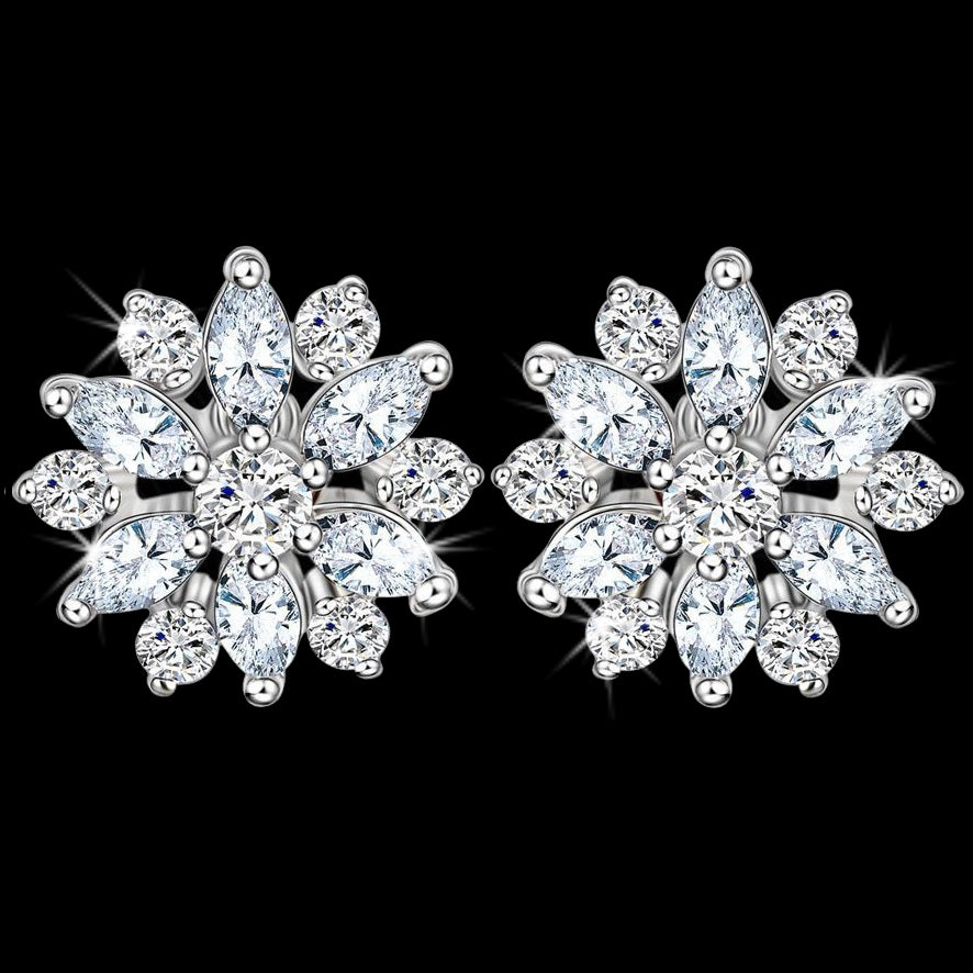 Marquise & Round Cut Cz Diamond Cluster Stud Earrings