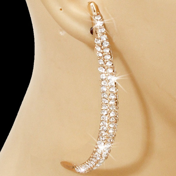 "4.25"" Pave Set Crystal Curve Earrings Gold"