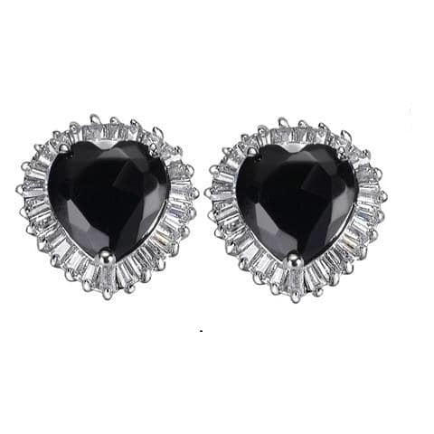 12ct  Black Ice CZ Diamond Heart  Baguettes Stud Earrings