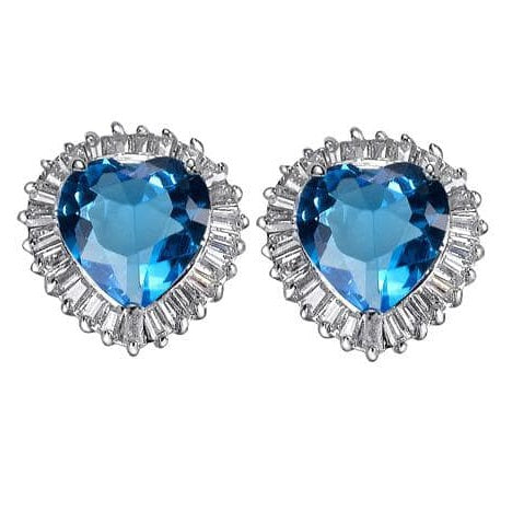 12ct  Blue Topaz CZ Diamond Heart  Baguettes Stud Earrings