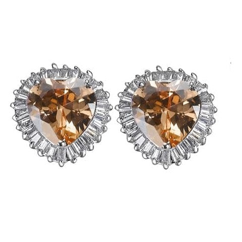 12ct  Champagne CZ Diamond Heart  Baguettes Stud Earrings