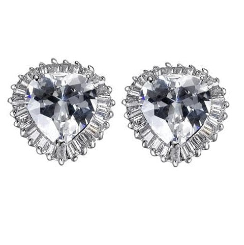 12ct  Silver CZ Diamond Heart  Baguettes Stud Earrings