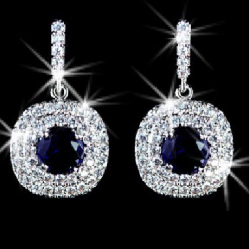 Sapphire Cz Diamond Pave Halo Dangle Earrings