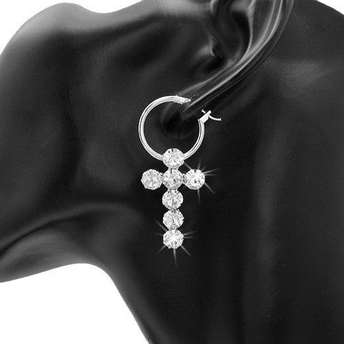 "1.75"" Long Pave Crystal CROSS Hoop Dangle Drop Earrings Silver"