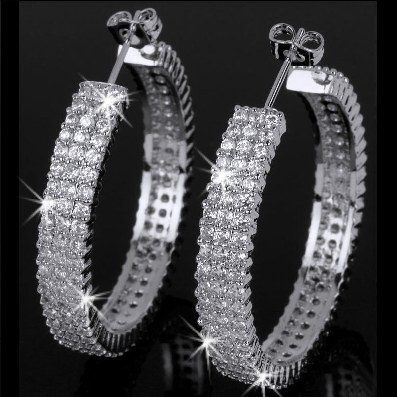 3-Line Micro Pave CZ Glamour Hoop Earrings
