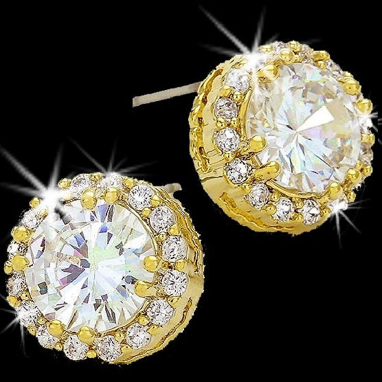 7ct Round & Pave Halo Stud Earrings Gold