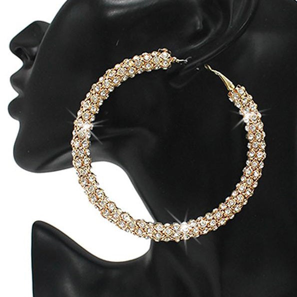 "3"" Long Pave Crystal Full Sparkle Hoops Gold"