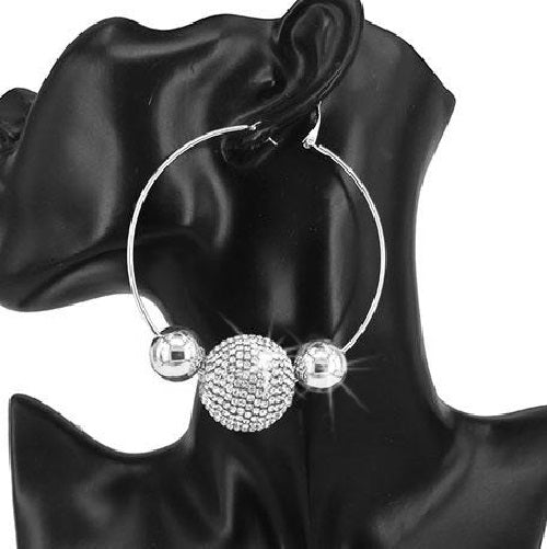 Silver Pave Crystal Disco Ball Hoop Earrings