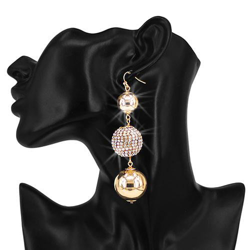 "4"" Long Pave Crystal Disco Ball Earrings Yellow Gold"