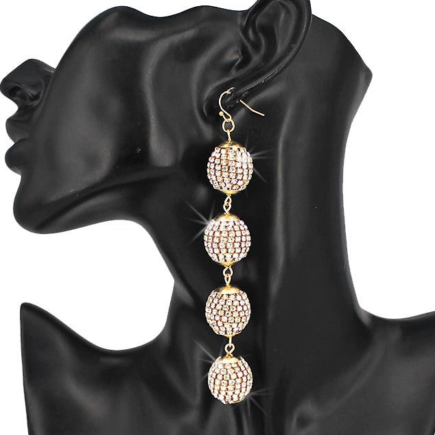 "4"" Long Pave Crystal Disco Ball Earrings Gold"