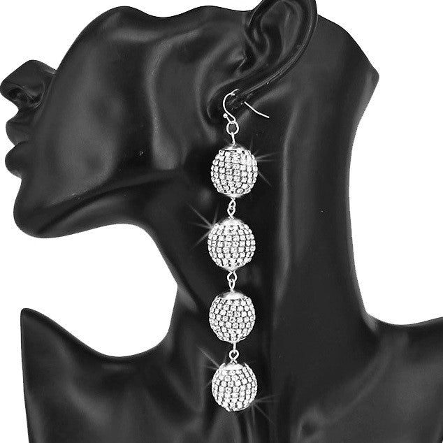"4"" Long Pave Crystal Disco Ball Earrings Silver"