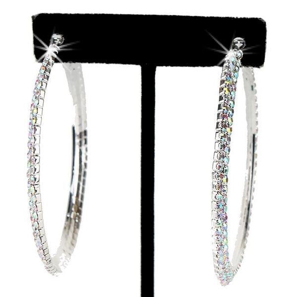"2.3"" Long Aurora Borealis Pave Crystal Hoops"