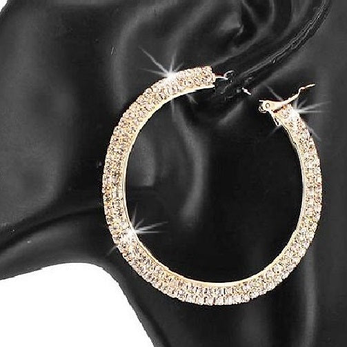 "2.3"" Long Pave Crystal Sparkle Hoops Gold"