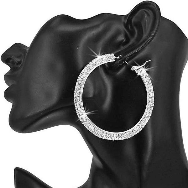 "2.3"" Long Pave Crystal Sparkle Hoops Silver"
