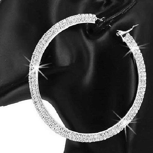 "2.75"" Long Pave Crystal Sparkle Hoops Silver"
