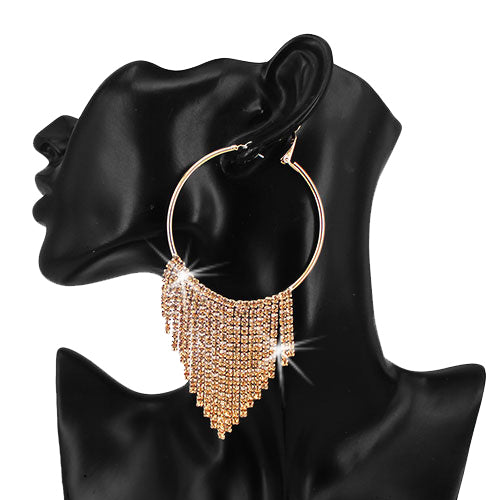Gold Topaz Crystal Fringe Hoop Earrings