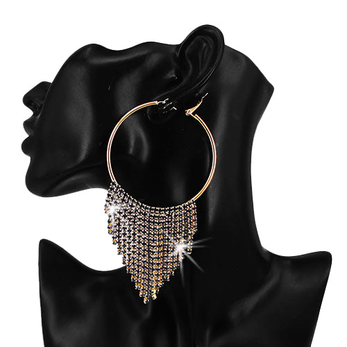 Black Ice Crystal Fringe Hoop Earrings