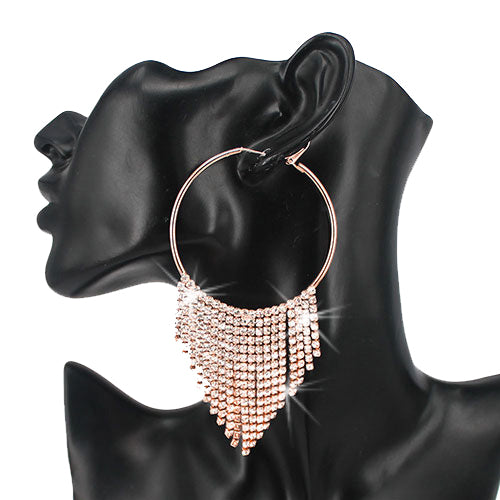 Rose Gold Clear Crystal Fringe Hoop Earrings