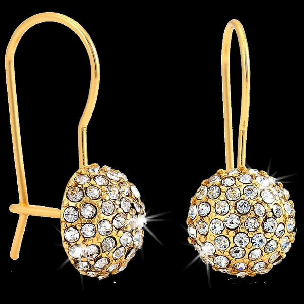 Pave Set Disco Ball Crystal Drop Earrings Gold