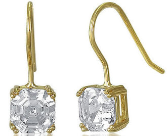 Gold Asscher Cut CZ Diamond Dangle Earrings