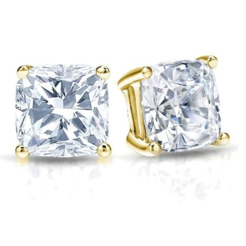 Gold Cushion Cut CZ Diamond Stud Earrings