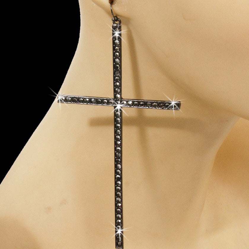 "5"" Hematite Pave Crystal Cross Dangle Earrings"