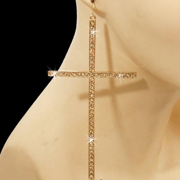 "5"" Colorado Topaz Pave Crystal Cross Dangle Earrings"