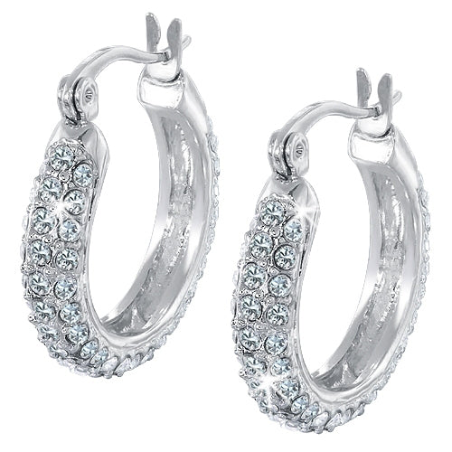 3-Line Micro Pave Crystal Hoop Earrings