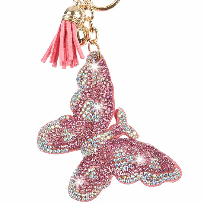 Pink Borealis Butterfly Pave Crystal Bag Charm Key Chain