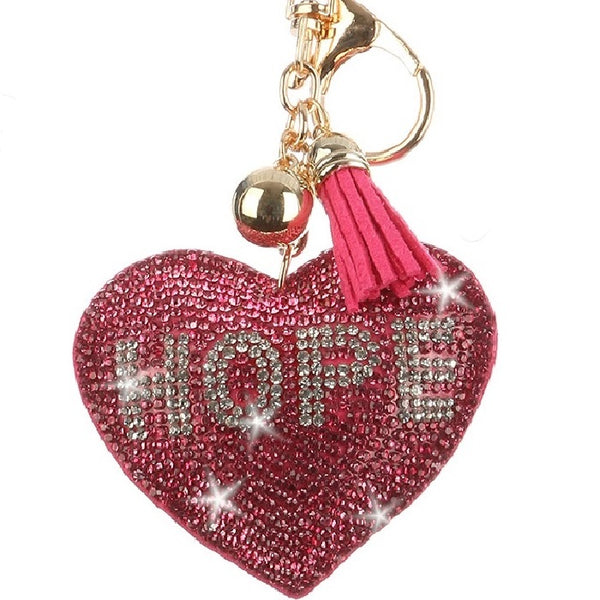 HOPE Pink Heart Crystal Pave Bag Key Chain