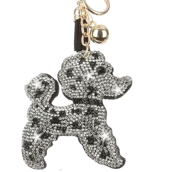 POODLE Black & White Pave Crystal Bag Charm