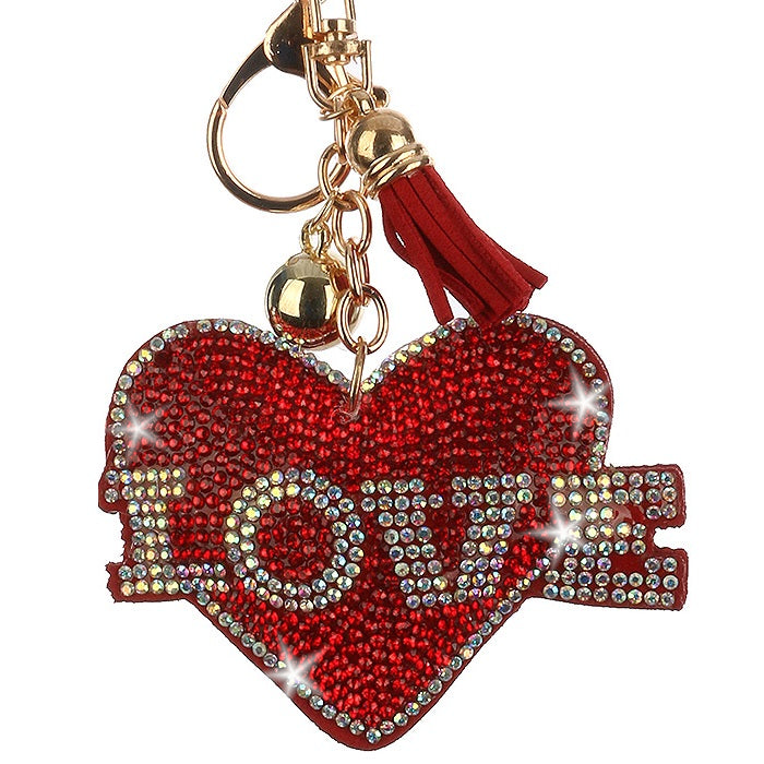 LOVE Ruby Red Heart Pave Crystal Bag Chain