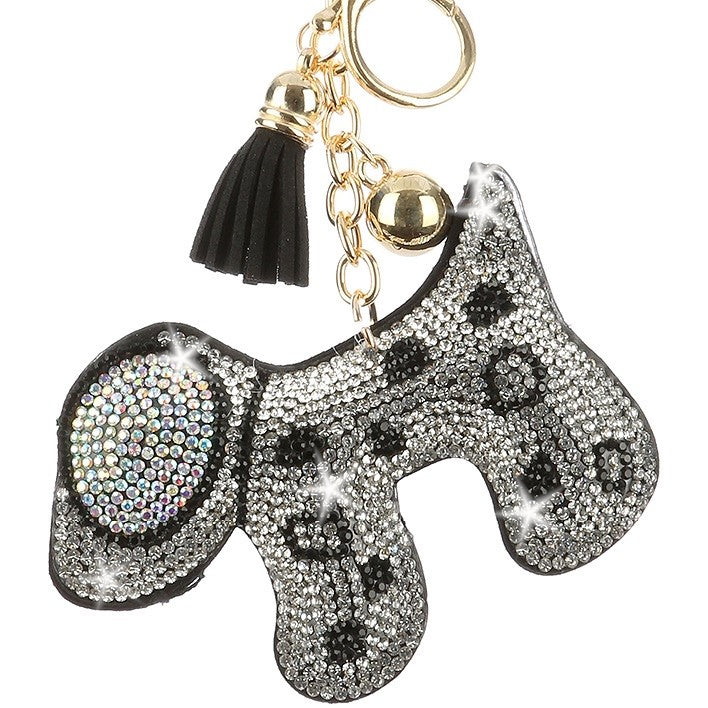 BEAGLE Dog Borealis Black & White Pave Crystal Bag Charm