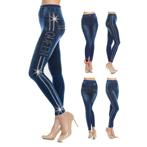 QUEEN Crystal Designer Denim Jeggings