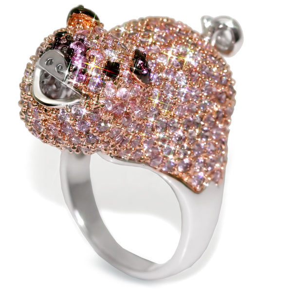 PINK PIGGY Micro Pave CZ Ring