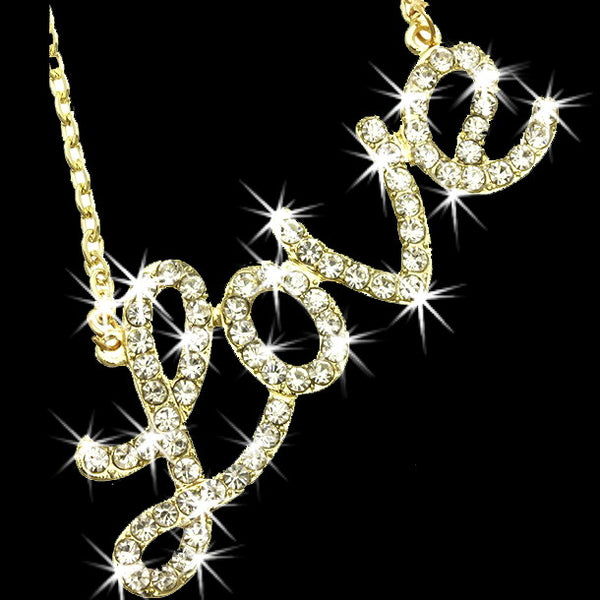 LOVE Pave Crystal Pendant Chain Gold