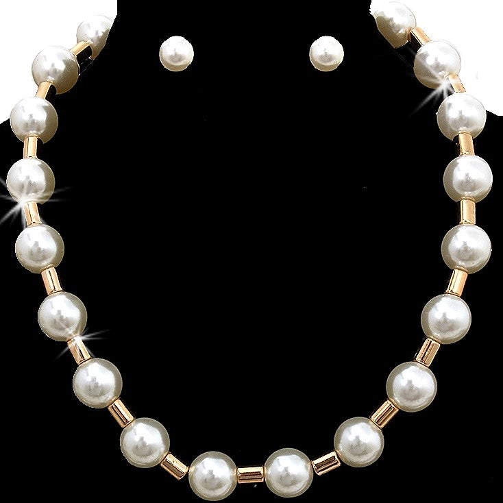 Gold Station PEARL Statement Necklace Earring Set