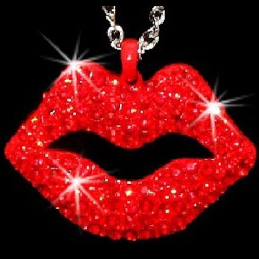 Ruby Red Lips Crystal Link Pendant Necklace
