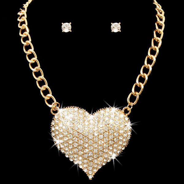 Puffed Pave Set Crystal Heart Pendant Necklace Gold