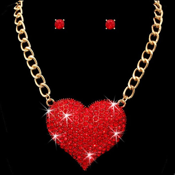 Puffed Pave RUBY Crystal Heart Pendant Necklace Gold