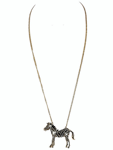 Pave Set Crystal Zebra Pendant Long Necklace